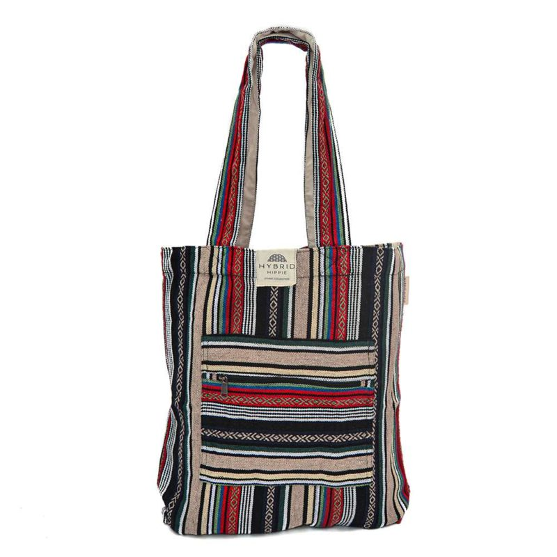 Cotton Tote Bag   Ethnic Red & Green - 100% Organic Cotton